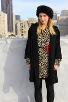 tan leopard tunic vintage dress - black 1960s vintage coat