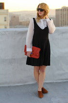 black vintage dress - white vintage blouse
