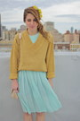 Aquamarine-sheer-pleated-vintage-dress-heather-gray-lace-up-rachel-comey-shoes