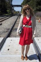 light brown vintage shoes Via Spiga shoes - red red dress vintage dress - beige