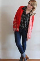 brown woodies Jeffrey Campbell shoes - navy skinny JBrand jeans - red kimono vin