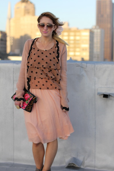 silk vintage dress - Betsey Johnson bag - polka dot tierd vintage blouse