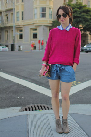 sky blue tie Forever21 shorts - hot pink knit H&M sweater