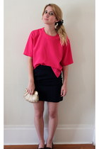 hot pink short sleeve vintage blouse - navy mini vintage skirt