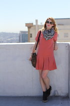 salmon drop waist madewell dress - black leather Gap boots