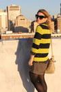 Black-polka-dot-vintage-blouse-yellow-striped-neon-gap-sweater