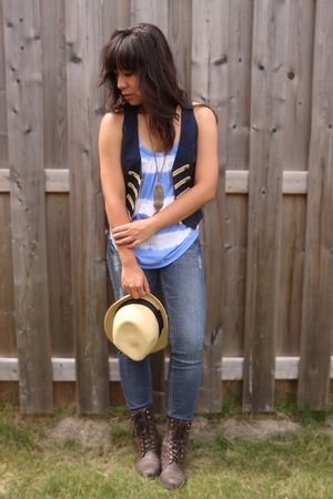 brown Spring boots - blue garage jeans - yellow Ardene hat - blue American Eagle