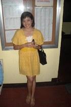 yellow dress - black Esprit bag - belt - bronze Celine sandals