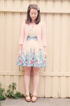 modcloth dress - SES cardigan - mary-jane vintage heels
