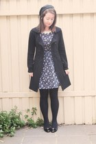 navy floral Dahlia dress - black im all hurt Alannah Hill coat - beret Sportsgir