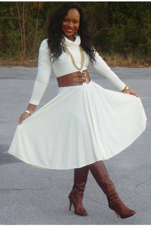 camel leather Arturo Chiang boots - winter white Thrift Store dress
