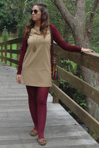 camel camel Zara dress - brick red autumn Calzedonia tights