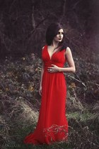 ruby red chiffon River Island dress