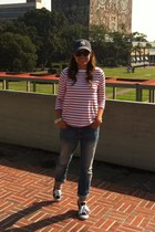 Zara jeans - red stripes Sfera top - Ralph Lauren sneakers