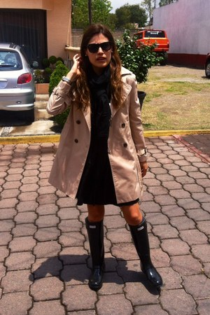 black rainboots boots - black Urban Outfitters dress - tan trench coat