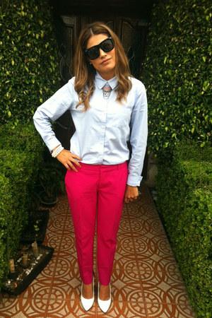hot pink Zara pants - white go jane shoes - sky blue Forever 21 shirt