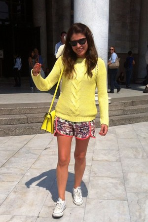 yellow Zara sweater - asos shorts - white Converse sneakers