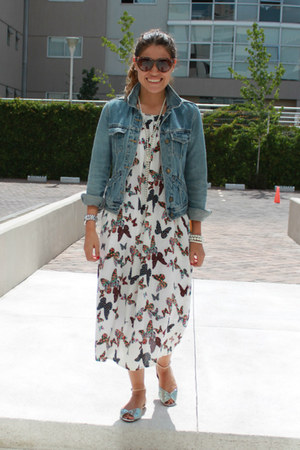 midi Sheinside dress - denim Bershka jacket - Bershka flats