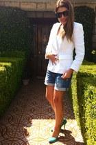 linen benetton blazer - denim pull&bear shorts - Zara pumps