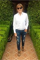leopard ankle sam edelman boots - Zara jeans - white Ralph Lauren shirt