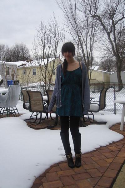 black Dolce Vita boots - black Forever 21 leggings - blue Heritage 1981 dress -