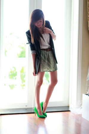 black cotton on blazer - chartreuse Bershka skirt - chartreuse Zara heels