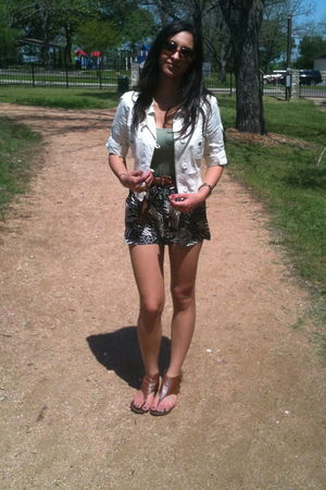 beige Forever 21 jacket - black Forever 21 shorts - brown vintage belt - brown D