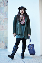 green chadwicks jacket - green dress - black tights - red Pashmina scarf - black