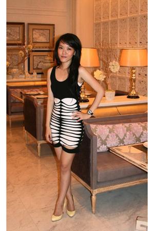 yellow Christian Louboutin shoes - white H&M dress - black Topshop dress