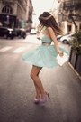 Aquamarine-dress-light-purple-heels