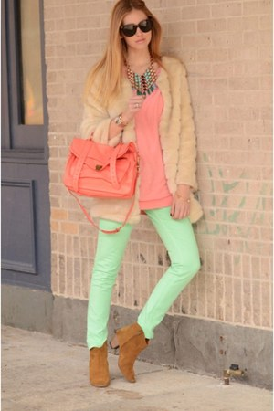 peach shirt - mustard ankle boots - aquamarine mint jeans - neutral furry jacket
