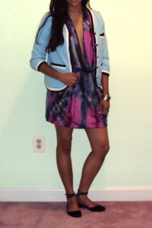 pink rachel rachel roy dress - blue Marc by Marc Jacobs jacket - blue DKNY shoes