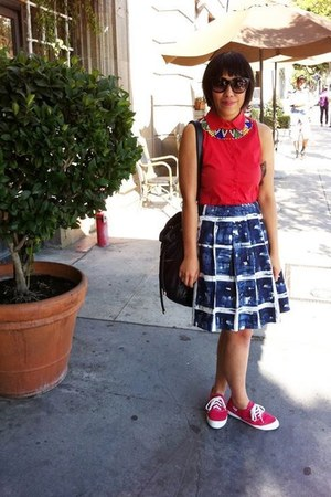 red Zara dress - cateye Nasty Gal sunglasses - plaid simply vera skirt