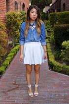 blue denim Democracy shirt - silver tildon skirt - gold Bauble Bar necklace