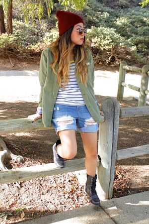 black Steve Madden boots - crimson neff hat - army green H&M jacket