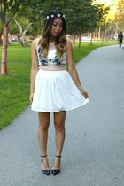 white Tobi dress - black strappy Forever 21 heels