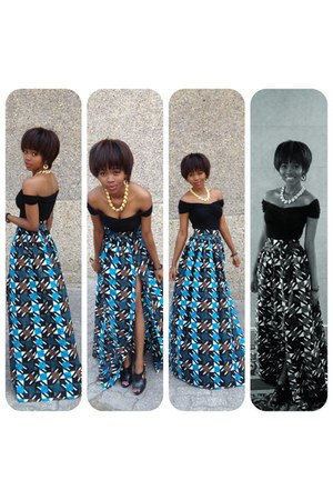 maxi print destyne skirt - gold thrifted vintage necklace