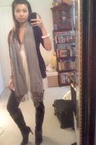 H&M scarf - Pac Sun jacket - banana republic dress - H&M jeans - Nine West boots