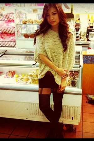 neutral Forever 21 sweater - black Forever 21 stockings - Jeffrey Campbell heels