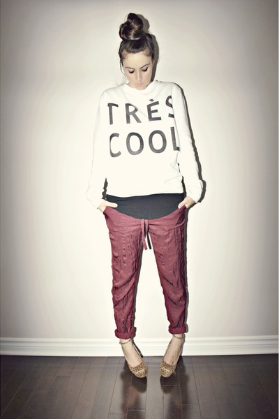 white diy Walmart sweatshirt - crimson Joe Fresh pants