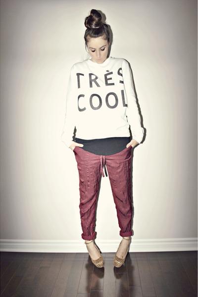 white diy Walmart sweatshirt - crimson Joe Fresh pants