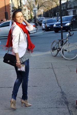 red Ardene scarf - beige Aldo boots - blue Zara jeans - white Zara blazer