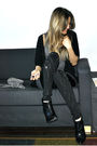 Black-ardene-cardigan-gray-ardene-top-black-aldo-leggings-black-aldo-boots