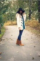 beige toggle closure Ebay coat - tawny fringe Chinese Laundry boots