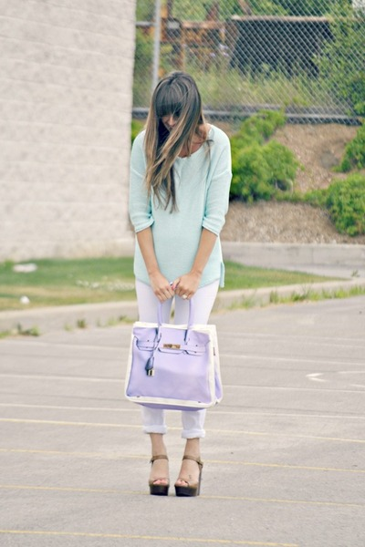 light purple Banane Taipei bag - light blue knit Topshop sweater