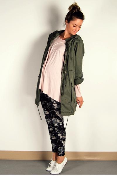 green parka H&M jacket - white oxfords Aldo shoes - black floral H&M leggings