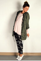 green parka H&M jacket - white oxfords Aldo shoes - black floral H&M leggings