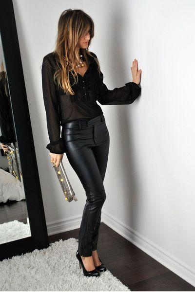 black David Bitton  Buffalo blouse - black Aldo shoes