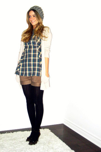 gray Ardene - beige Zara cardigan - H&M shirt - brown David Bitton  Buffalo shor