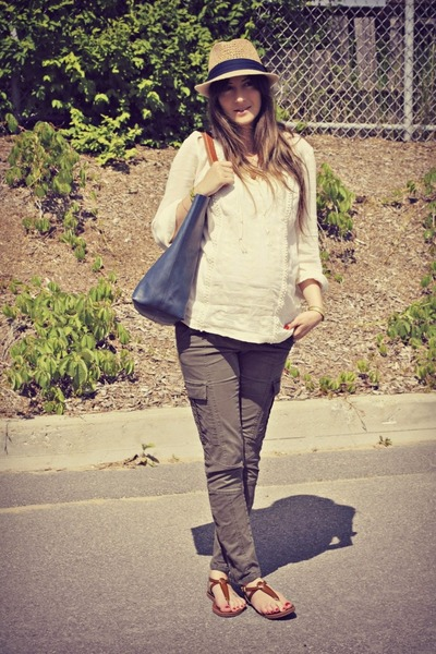 brown Aldo sandals - blue leather tote madewell bag